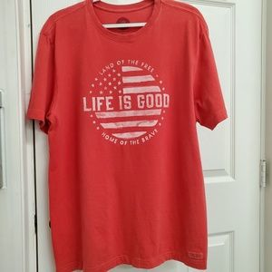 Life is Good Crusher Tee patriotic flag graphic